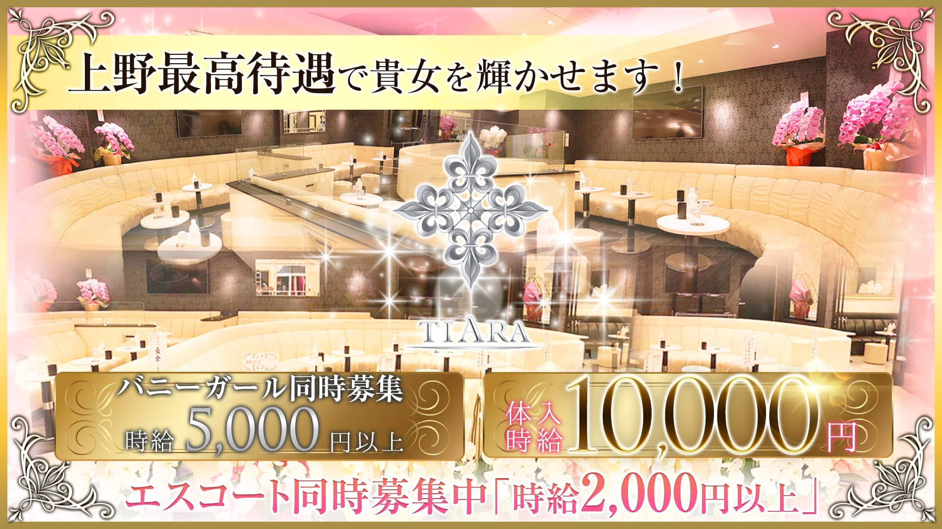 CLUB Tiara(クラブ ティアラ)【公式求人・体入情報】 上野キャバクラ TOP画像